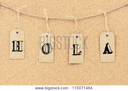 Vintage Grunge Tags With Word Hola