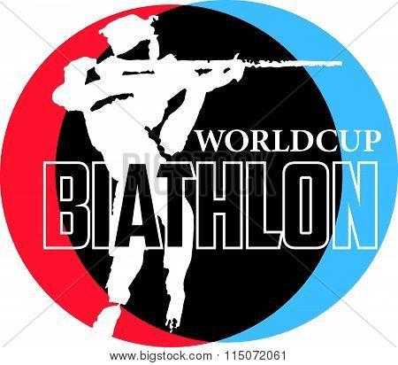 Vector hand drawn biathlon sketch