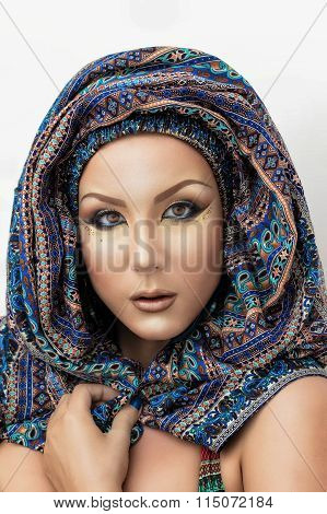 Portrait beautiful woman, arabic makeup in paranja