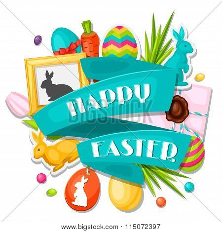 Happy Easter greeting card with decorative objects, eggs, bunnies stickers. Concept can be used for