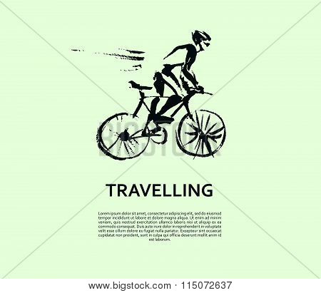 Vector hand drawn cyclist sketch