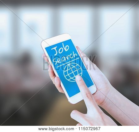 Mobile touch screen phone with text Job Search on the screen