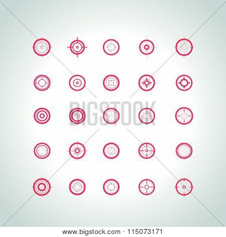 Set of flat targets and crosshairs icons.