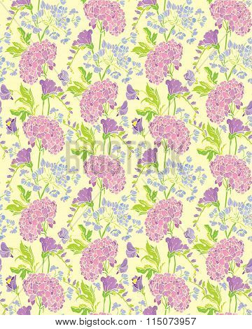 Seamless Pattern With Realistic Graphic Flowers - Gardenia And Sweet Pea - Hand Drawn Background.