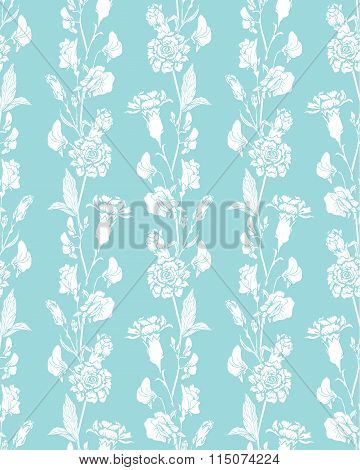 Seamless Pattern With Realistic Graphic Flowers - Sweet Pea And Clove - Hand Drawn Background In Whi