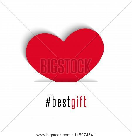 Valentines Day Card, Red Heart Holiday Symbol All Lovers, Best Gift Hashtag Text, White Background