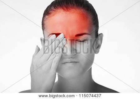 Woman Has Headache Healthcare Concept