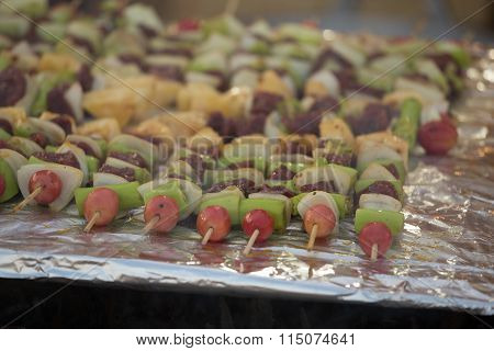Bar-b-q Or Bbq With Kebab Cooking. Coal Grill Of Pork Skewers With Tomatoes, Onion And Peppers.