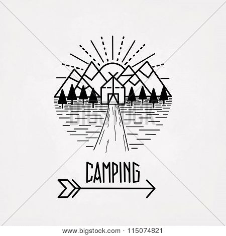 Mountain hiking outdoor camping graphic emblem label. Abstract paper background. Black abstract isolated vector illustration