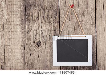 Empty Wooden Blackboard Sign
