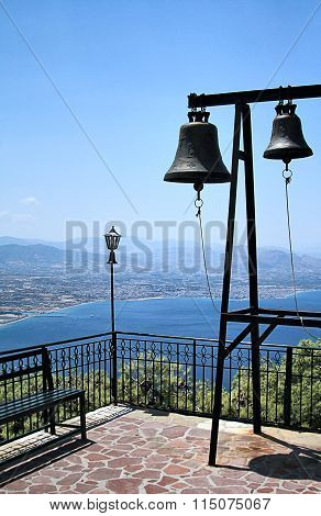 The church bells in monastery  in Loutraki, Greece