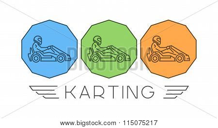 Line And Flat Karting Logo And Symbol. Silhouette Figures Kart R