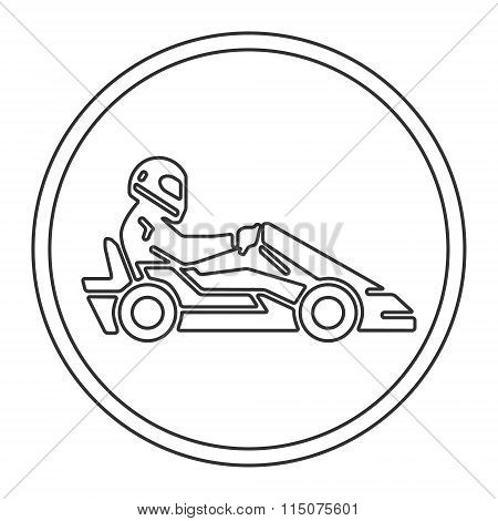 Vector Line And Flat Karting Logo And Symbol