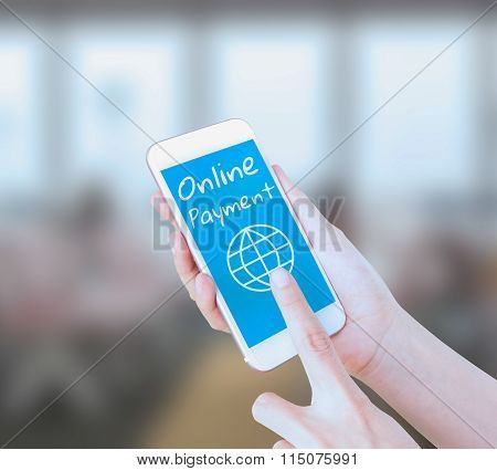 Mobile touch screen phone with text Online Payment on the screen