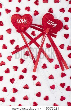 Love Hearts On Wooden Texture Background