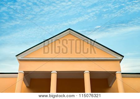 The Old Office Building On Background On Blue Sky
