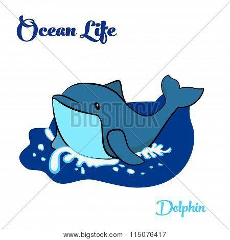 Blue dolphin in the ocean
