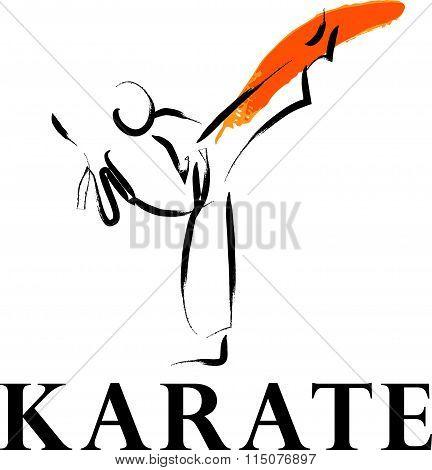 Vector hand drawn karate athlete.