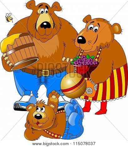 Three Cheerful Bear