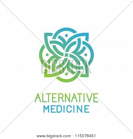 Vector Abstract Logo Design Template For Alternative Medicine
