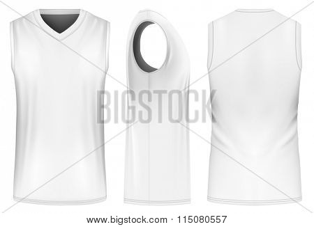 Basketball tank top (front, back and side views). Fully editable handmade mesh. Vector illustration.