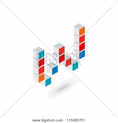 3D Cube Letter W Logo Icon Design Template Elements
