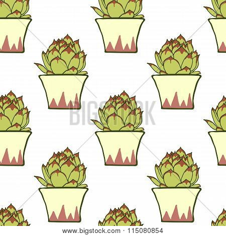 Seamless pattern with hand drawn green cactus