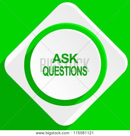 ask questions green flat icon