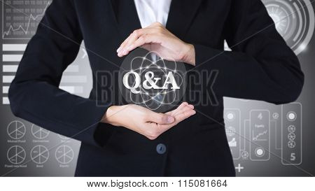 Business women holding posts in Q&A.