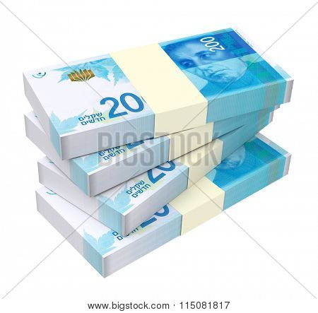 Israeli Shekel bills isolated on white background. Computer generated 3D photo rendering.