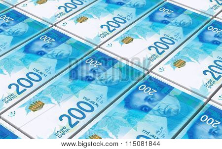 Israeli Shekel bills stacked background. Computer generated 3D photo rendering.