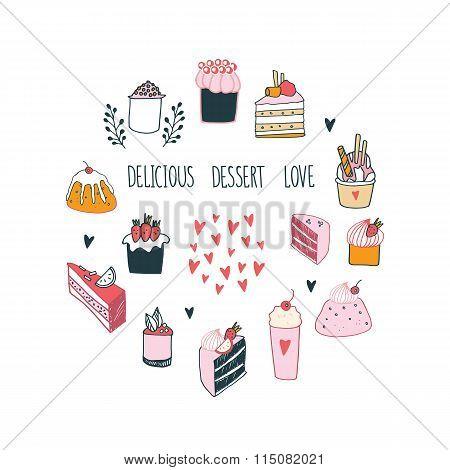 Delicious Food Dessert Collection Milkshake Cake Pudding Cupcake Food