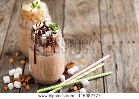 Chocolate shake with sauce and marshmellows
