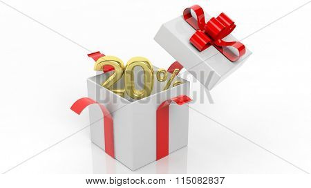 Open gift box with gold 20 percent number in it, isolated on white background.