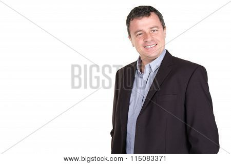 Happy Smiling Man Leaning Against White Wall With