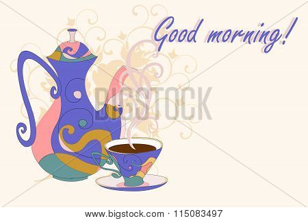Coffee pot and Cup with abstract print.