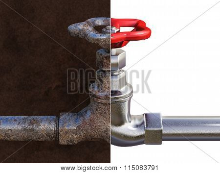 Rusty and new water tap