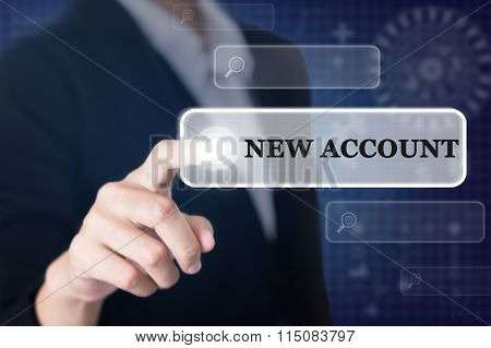 Businessman pressing a NEW ACCOUNT concept button.
