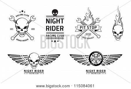 Racing skull emblems vector set