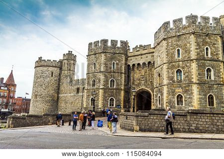 Unidentified Tourists Near The Exit From Medieval Windsor Castle