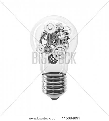 classic bulb and gear 3d image