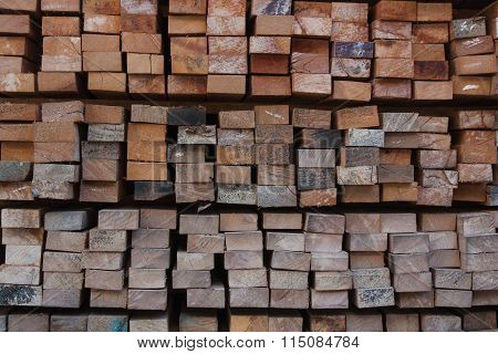 Pile Of Wood Stored In Stock.