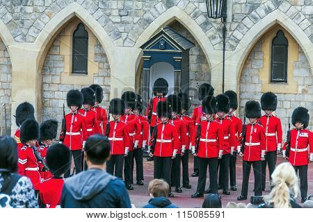 Changing Guard Ceremony Takes Place In Windsor Castle.