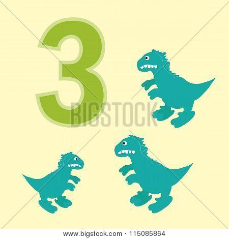 Number Three. Three Dinosaur (tyrannosaurus ).