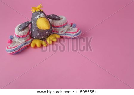 Baby Toys On Pink Background.