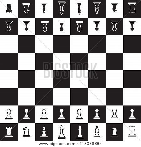Chessboard With Black And White Oposite Chess Pieces Eps10
