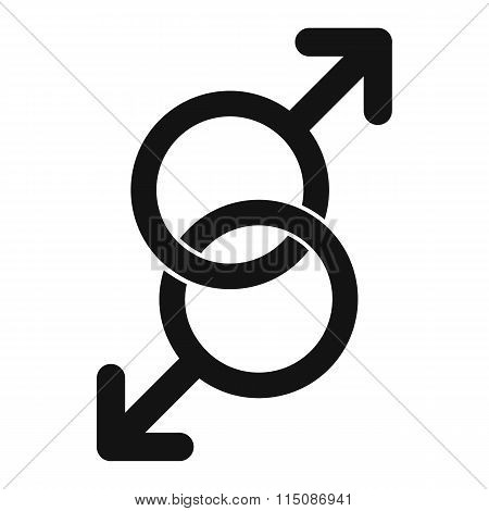 Sign of two men black simple icon
