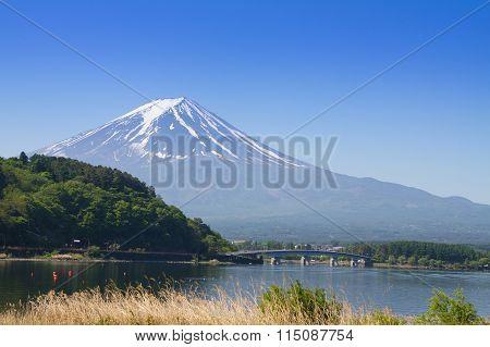 Mount Fuji during winter seen from lake Fujikawaguchiko, Japan.