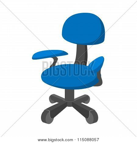 Blue office chair cartoon icon