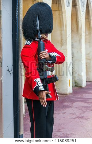 Queen's Guard  preparing to be on duty  inside Windsor castle